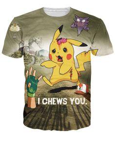 fc9c71a3d04a5 Fashion Clothing Women Men Unisex I Chews You T-Shirt Pikachu zombie  zombified Pokemon spooky t shirt vibrant Pokedex tees