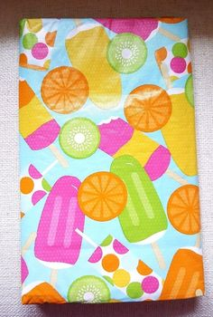 Summer Fun Vinyl Tablecloth 52 x 52 Flannel Back Ice Cream  #Elrene
