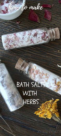 Enjoy a little home spa with these easy to make DIY bath salts that give you a relaxing feeling and uplift your mood. It is also a creative way to show someone that you care. Diy Beauty Tutorials, Diy Natural Beauty Recipes, Vegan Recipes Plant Based, Soap Recipes, Diy Skin Care, Bath Salts, Herbalism, Homestead, Project Ideas