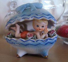 Vintage Lefton Girl In Easter Egg