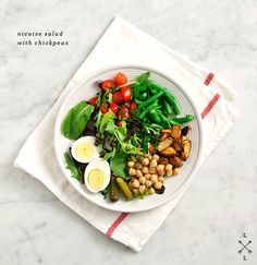 chickpea nicoise salad with roasted potatoes and green beans