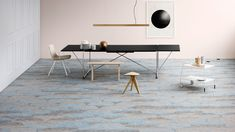 Flow – Design fluidity, visual motion and soft pastel shades. Inspired by the timeless mystery of our oceans, Flow highlights design fluidity, visual motion and soft pastel shades. Flow Design, Blue Colour Palette, Pastel Shades, Vinyl Flooring, Oceans, Highlights, Mystery, Dining Table, Collections