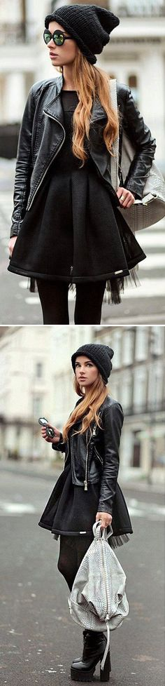 Moto Jacket + Black Dress, love the chunky high heel boots too