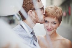 Stunning natural beauty - short haired bride Janis of My Suitcase Heart & Mike