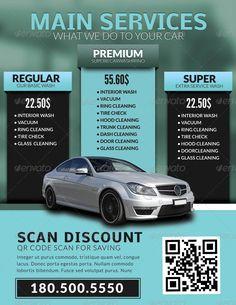 Black auto detailing auto repair flyer in