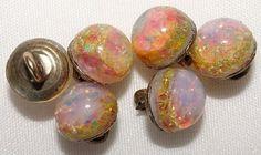Antique Buttons Six Diminutive Opals Set on a Brass Plate & Loop Shank 2.7mm