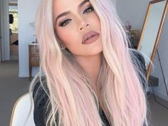 Khloe Kardashian platinum blonde pastel pink hair color Khloe Kardashian platinblond pastellrosa Haarfarbe 😍😍😍 Source by . Pink Blonde Hair, Blonde With Pink, Hair Color Pink, Platinum Blonde Hair, Long Pink Hair, Pastel Blonde, Pastel Hair Colors, Baby Pink Hair, Blonde Hair With Pink Highlights