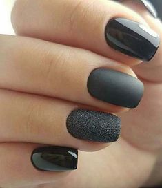 Mate Black and Glitter Nail Art Design