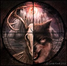 """Hircine's Call by Isriana - """"This is a commissioned album artwork I made for Daedric Tales, a symphonic power metal band inspired by The Elder Scrolls saga. As a fan of TES games I was obviously thrilled when they asked me to design a cover for their album Hircine's Call. The artwork itself draws much of its inspiration especially from Bloodmoon, the expansion pack of The Elder Scrolls III: Morrowind."""" #skyrim #elderscrolls"""