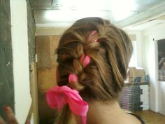 side french braid with ribbon