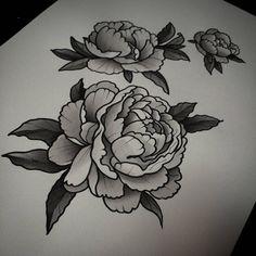 Black And Grey Peony Flowers Tattoo Designs
