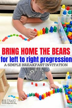 Left to right progression activity for children. Breakfast Invitation for fine motor grip, prewriting, color sorting, and fun! Use this in a small group or independent play for child-led learning. Cognitive Activities, Motor Skills Activities, Preschool Learning Activities, Toddler Learning, Toddler Preschool, Preschool Activities, Toddler Home Activities, Fun Activities For Preschoolers, Leadership Activities
