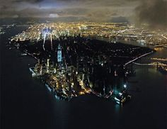 Photograph of Manhattan with downtown without power following Hurricane Sandy byIwan Baan,cover of New York Magazine.
