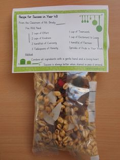wonderful first day of school ideas, recipe for success. Each trait is represented with a trail mix ingredient and students mix up their recipes for success on first day of school First Day Of School Activities, 1st Day Of School, Beginning Of The School Year, School Fun, School Days, Back To School, Middle School, School Stuff, High School