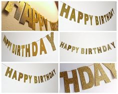 3M Gold Glitter Banner Happy Birthday Banner Glitter Party Decor Photo Backdrop
