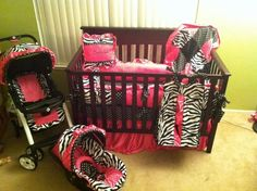 baby girl nursery - hot pink and zebra print or hot pink and black colour scheme My Baby Girl, 3rd Baby, Baby Girls, Girl Nursery, Girl Room, Baby Room, Zebra Print Nursery, Nursery Room, Bedroom