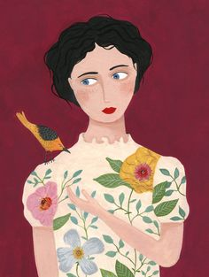 Poster - the curious bird Portrait Illustration, Graphic Design Illustration, Nature Sketch, Art Populaire, Gouache Painting, Illustrations And Posters, Art Inspo, Art Girl, Montages