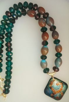 Enamel and Beaded Necklace: Autumn Skies by SpurwinkRiverArts on Etsy