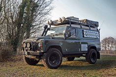 Land Rover Defender 110 Hardtop expedition/overland. This is the best representation of how I want my truck to look. Mine will be dark grey, with a black roof and black accessories, but aside from that, this truck is pretty spot on.