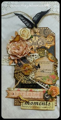 """The Jule Box"": Prima ""Lyric"" Mixed Media grungy chic tag!"