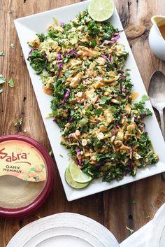 Thai Chicken Salad with Creamy Peanut Hummus Dressing
