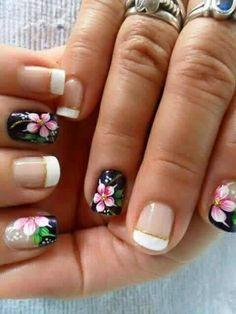 Cute Pedicure Designs, Nail Tip Designs, Fingernail Designs, Cute Pedicures, Magic Nails, Cat Nails, French Tip Nails, Stylish Nails, Flower Nails