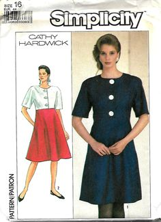 Simplicity 8420 Cathy Hardwick Easy-To-Sew Empire Waist Dress With Flared Skirt, Size 16, UNCUT by DawnsDesignBoutique on Etsy