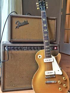 Gibson Les Paul guitar through a Fender amp