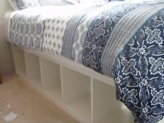 Expedit re-purposed as bed frame for maximum storage | IKEA Hackers Clever ideas and hacks for your IKEA