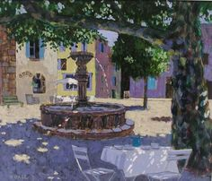Coffee by the Fountain by Mike Hall from Bell Fine Art, Winchester, Hampshire, UK Hall Painting, Fine Art, Cityscape, Painting, Types Of Art, Art, Street Gallery, English Artists, Art Themes