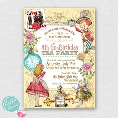Alice in Wonderland printable birthday invitation - vintage shabby chic tea party. $16.00, via Etsy.