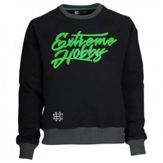 """Crewneck women EH CRUEL ANNABELL black. Crewneck """"Extreme Hobby"""" features highest quality fabric. 90% cotton, 10% polyester with the addition of silicon / Enzim-340 GSM. water paint prints. Embroidery and gel additives."""