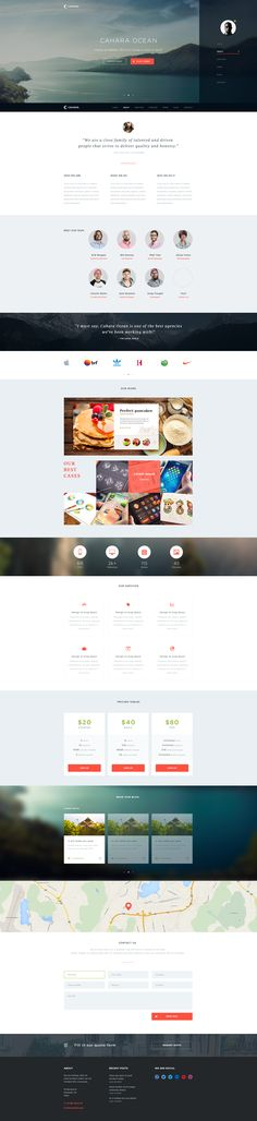 Cahara Onepage Wordpress Theme by Charlie Isslander for Flat & Filthy Crüe.