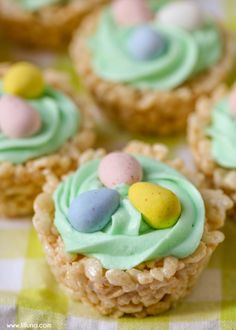 Rice Krispies Easter Cups - a cute and simple treat to make this Easter that everyone will love. A creamy frosting with Easter candies make these rice krispies delish!!