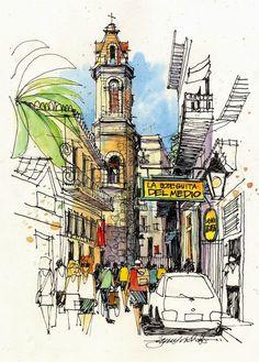 Urban Sketchers: Cuba / trait / couleur / composition / rue / urbain / ville / lumière / église / passants / tour