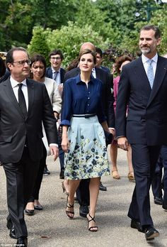 dailymail:  Spanish State Visit to France, Day 1, June 2, 2015-President François Hollande, Queen Letizia and King Felipe visited the Velasquez painting exhibition at the Grand Palais