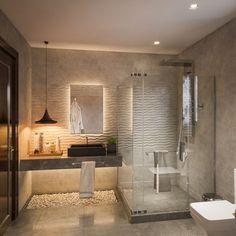 Bathroom inspiration, bad inspiration, glass bathroom, bathroom vanities, b Glass Bathroom, Bathroom Vanity Lighting, Small Bathroom, Bathroom Vanities, Bathroom Cabinets, Master Bathrooms, Glass Shower, Small Shower Room, Hotel Bathrooms