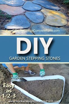 At Last, You Can Now Make Any Size, Shape, Color, Textured Stone Used In Garden Paths and Walkways In 3 Easy Steps. Rocka Design™ is the only Garden Stone Maker that is an 8 ft. flexible reusable form that lets you create your own custom designed stones for Garden Paths, Walkways, Patios and more. #1 Shape the form into your desired design, #2 add in the dry concrete mix, #3 add water & color, if desired, and youre done. www.rockadesignconcreteform.com