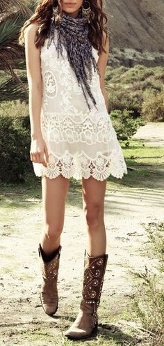 ☯☮ॐ American Hippie Bohemian Style ~ Lace and Boots
