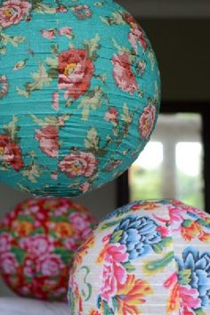 Love these fabric lampshades from Iota Bristol