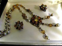 Vtg 1920s Deco CZECHOSLOVAKIA Czech Brass Yellow Amber Glass Necklace Earrings  #UnsignedCzech #ChainandMatchingearrings