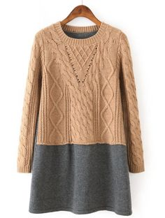 Khaki Contrast Grey Long Sleeve Cable Knit Sweater - Sheinside.com