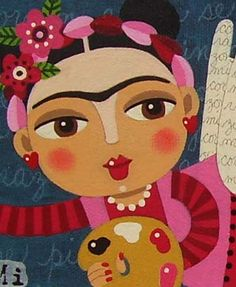 "Frida Kahlo Angel La Artista 6""x12"" Original Canvas Painting by LuLu 