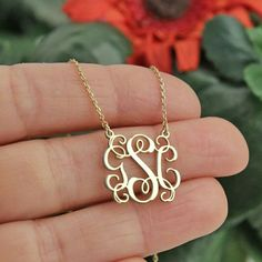Etsy Gold Monogram Necklace-Gold Necklace- Personalized Gift-Personalized Necklace-Gold Monogram Necklace