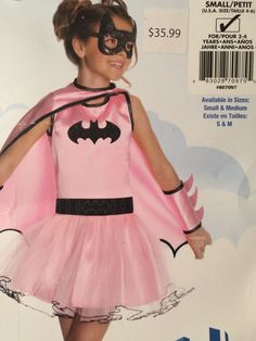 Batgirl Pink Costume Kids Girls Small Ages 3-4 Years With Mask And Cap Tutu #Batman #CompleteOutfit