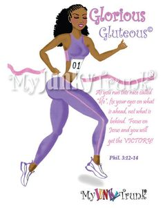 SALE- Glorious Gluteous- African American Fitness Print via Etsy