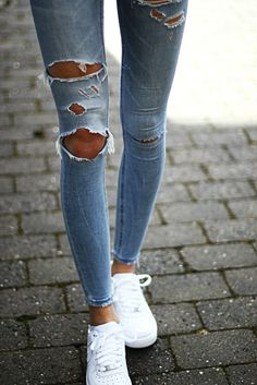Search for blue ripped skinny at ASOS. Shop from over styles, including blue ripped skinny. Look Fashion, Fashion Outfits, Womens Fashion, Jeans Fashion, Fashion Trends, Looks Style, Style Me, Spring Summer Fashion, Winter Fashion