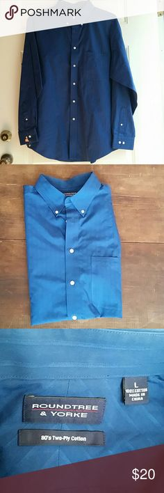 ***Bundle Me***Roundtree and yorke 100% cotton second picture is more true to the color it is a darker blue. only been dry cleaned. has subtle pin stripe Roundtree & Yorke Shirts Dress Shirts