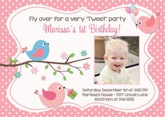 Little Birds Pink Polka Dot Birthday Party by PartyPopInvites, $16.00