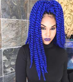Blue yarn braids, two strand braids